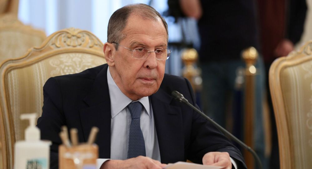 Russia's Foreign Minister Sergei Lavrov attends a meeting with his Honduran counterpart Lisandro Rosales Banegas in Moscow, Russia April 26, 2021.