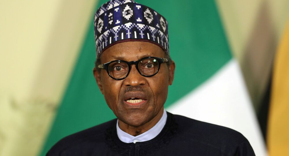 Nigerian President Muhammadu Buhari speaks during a news conference after a meeting with his South African counterpart Cyril Ramaphosa, in Pretoria, South Africa, October 3, 2019