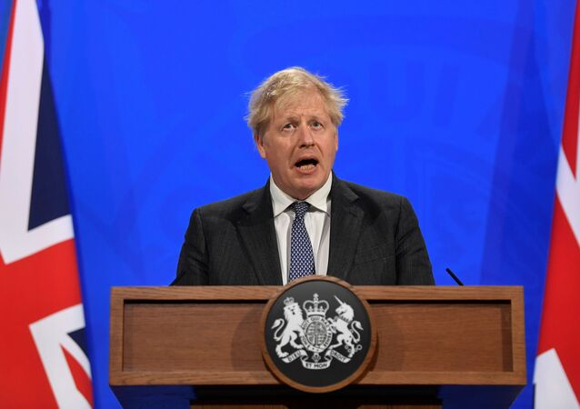 Britain's Prime Minister Boris Johnson holds a news conference at 10 Downing Street,  amid the coronavirus disease (COVID-19) outbreak, in London, Britain, April 20, 2021.
