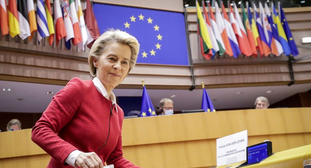 European Commission President Ursula von der Leyen attends the debate on EU-UK trade and cooperation agreement during the second day of a plenary session at the European Parliament in Brussels, Belgium April 27, 2021