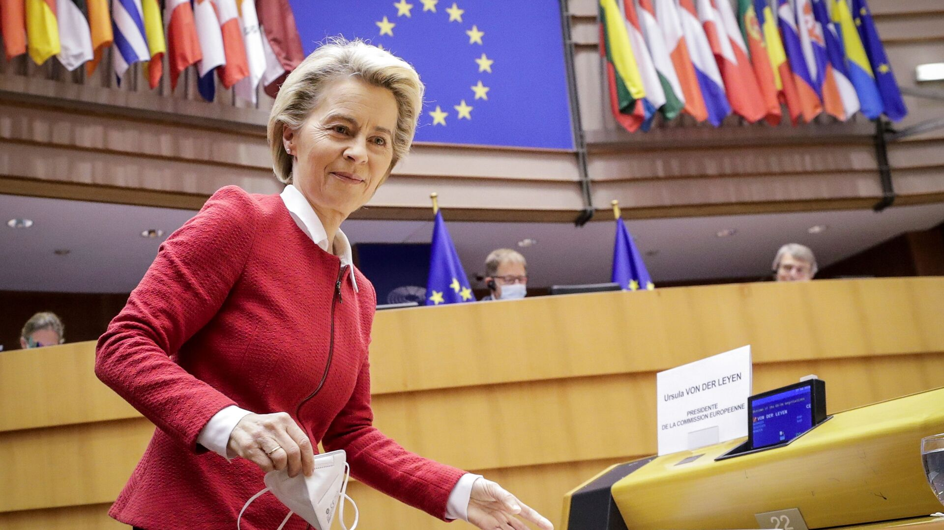 European Commission President Ursula von der Leyen attends the debate on EU-UK trade and cooperation agreement during the second day of a plenary session at the European Parliament in Brussels, Belgium April 27, 2021 - Sputnik International, 1920, 15.09.2021