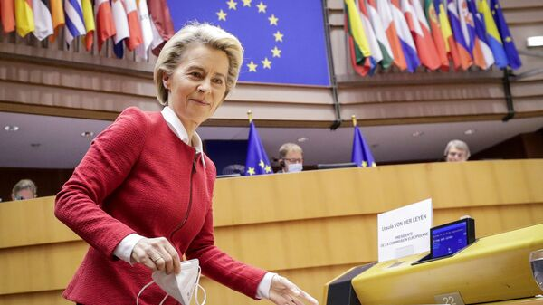 European Commission President Ursula von der Leyen attends the debate on EU-UK trade and cooperation agreement during the second day of a plenary session at the European Parliament in Brussels, Belgium April 27, 2021 - Sputnik International