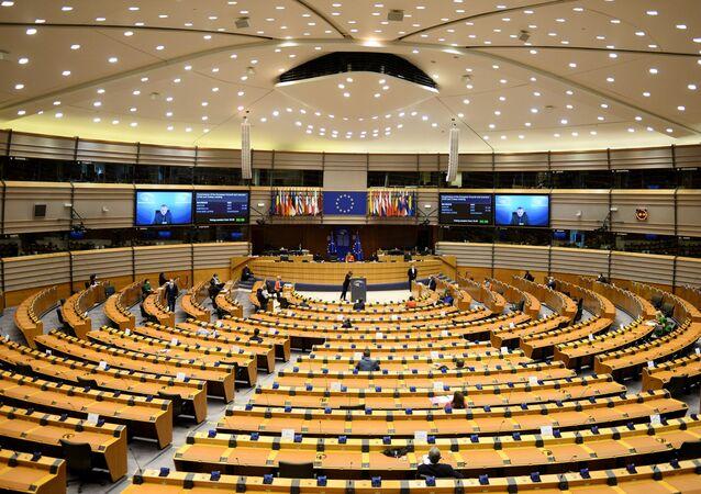 European Council President Charles Michel and European Commission President Ursula von der Leyen attend the EU Parliament plenary session in Brussels, Belgium April 26, 2021