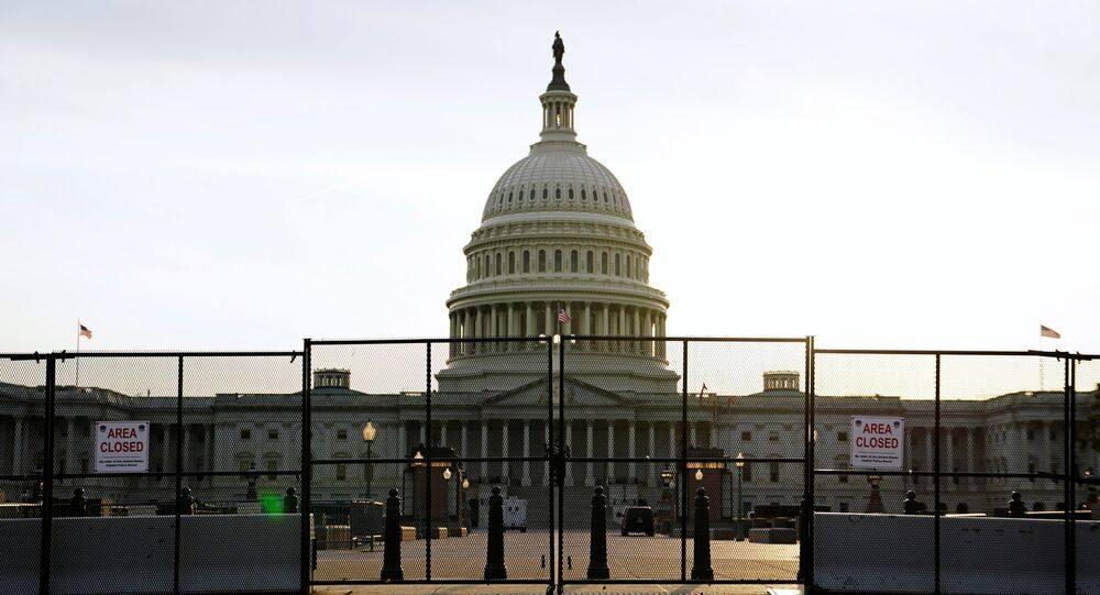 The U.S. Capitol grounds appear closed and mostly empty prior to U.S. President Joe Biden's first address to a joint session of the U.S. Congress in Washington, U.S., April 28, 2021.