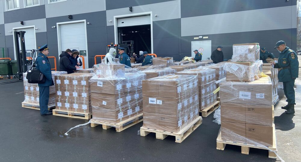 Packages of medical aid for India to help the country tackle the outbreak of the coronavirus disease (COVID-19) are pictured before being loaded onto a plane at Zhukovsky Airport in Moscow Region, Russia 28 April 2021.