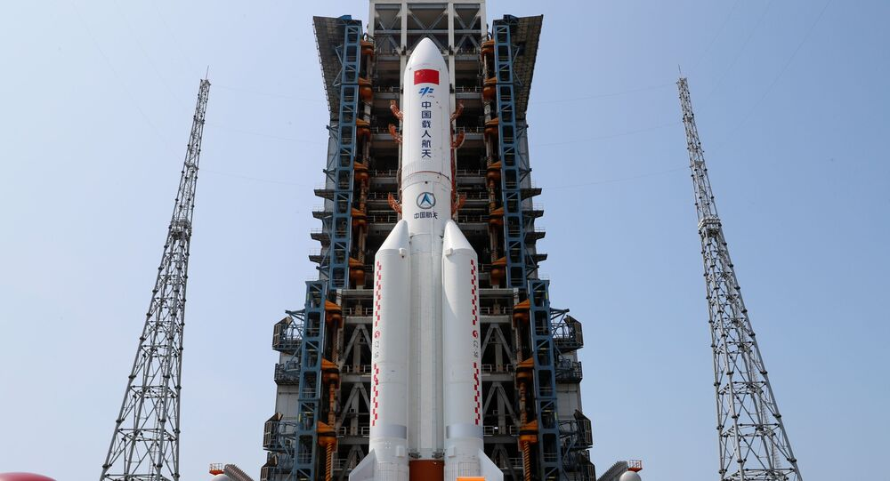 The Long March-5B Y2 rocket, carrying the core module of China's space station Tianhe, sits at the launch pad of Wenchang Space Launch Center in Hainan province, China April 23, 2021.
