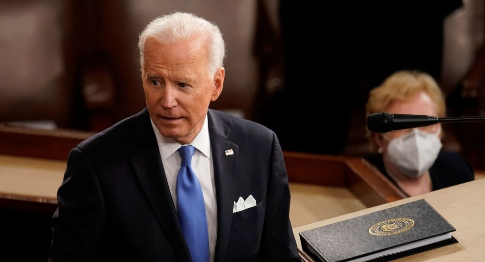 US President Joe Biden turns from the podium after speaking to a joint session of Congress in the House chamber of the US Capitol in Washington, DC, 28 April 2021.