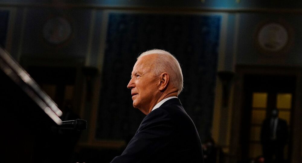 President Joe Biden addresses a joint session of Congress in Washington, U.S., April 28, 2021.