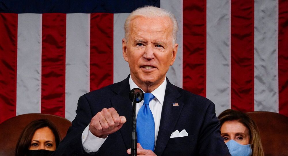 US President Joe Biden addresses a joint session of Congress in the House chamber of the US Capitol in Washington, DC, 28 April 2021