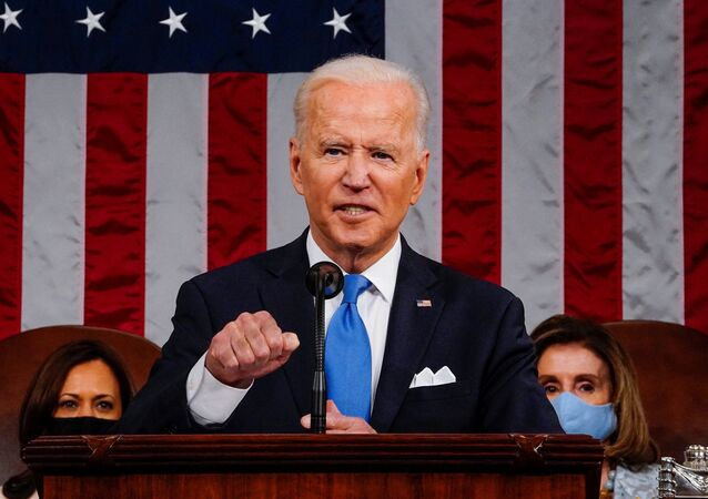 US President Joe Biden addresses to a joint session of Congress in the House chamber of the US Capitol in Washington, US, 28 April 2021