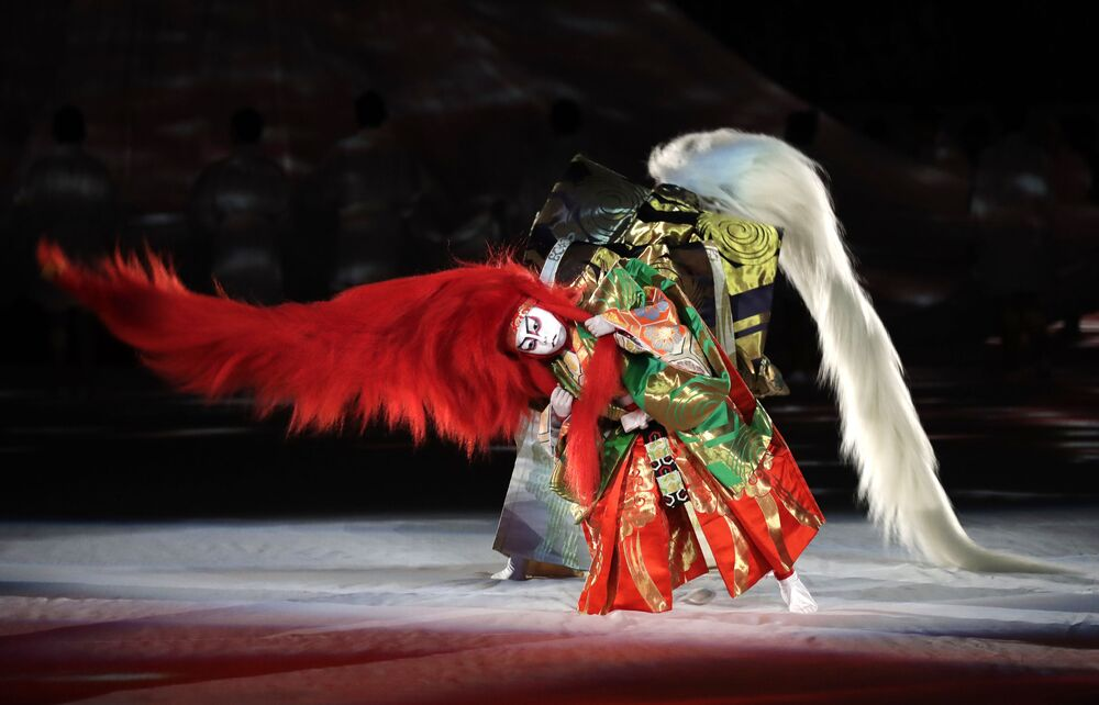 Kabuki performers take part in the opening ceremony of the Rugby World Cup ahead of the Pool A game at Tokyo Stadium between Russia and Japan in Tokyo, Japan, Friday, 20 September 2019.