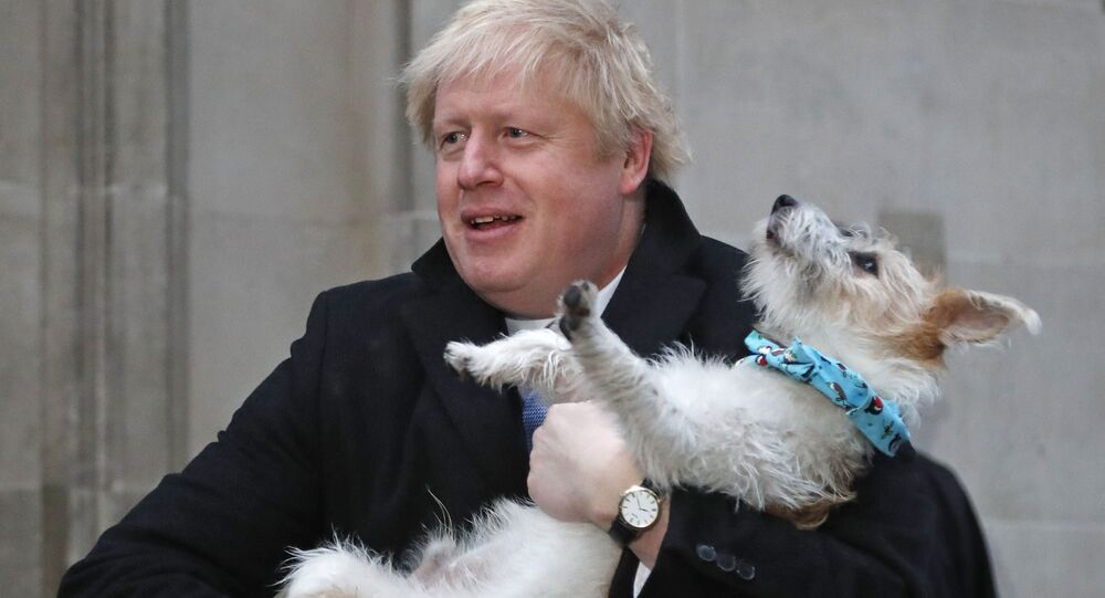 Britain's Prime Minister and Conservative Party leader Boris Johnson holds his dog Dilyn as he leaves after voting in the general election at Methodist Central Hall, Westminster, London, 12 December 2019