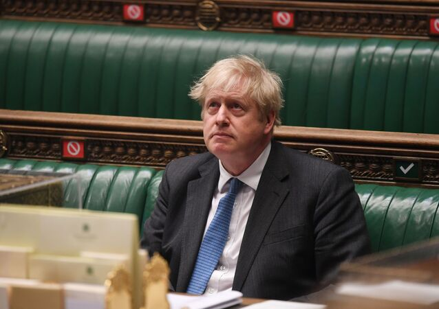 British Prime Minister Boris Johnson attends question period at the House of Commons in London, Britain April 28, 2021