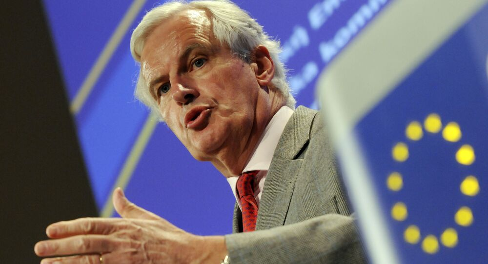 European Union Commissioner for Internal Market and Services Michel Barnier gestures while talking to the media during a press conference at the EU Commission headquarter in Brussels, Wednesday May 26, 2010