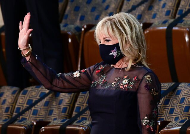 U.S. First Lady Jill Biden waves as she waits for the arrival of  U.S. President Joe Biden to address a joint session of Congress at the U.S. Capitol in Washington, DC, U.S. April 28, 2021