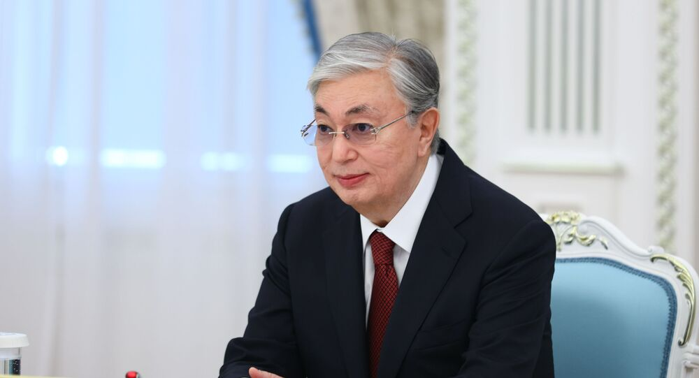 President of Kazakhstan Kassym-Zhomart Tokayev during a meeting with Russian Foreign Minister Sergees Lavrov in Nur-Sultan.