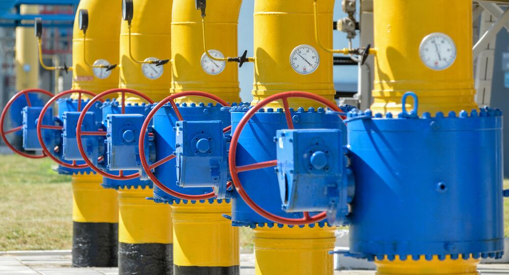A picture shows a partial view of a compressor station of Ukraine's Naftogaz national oil and gas company near the northeastern Ukrainian city of Kharkiv on August 5, 2014