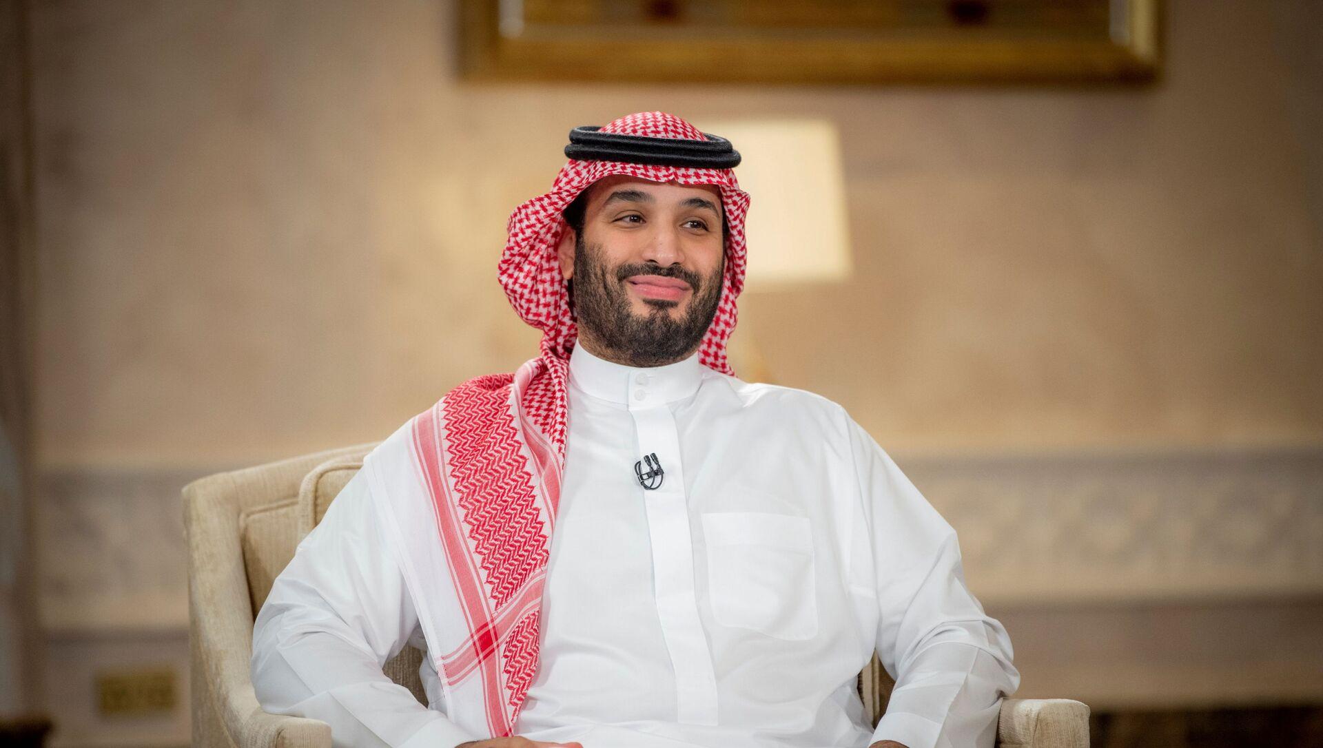 Saudi Crown Prince Mohammed Bin Salman smiles during a televised interview in Riyadh, Saudi Arabia, April 27, 2021. Picture taken April 27, 2021. - Sputnik International, 1920, 19.05.2021