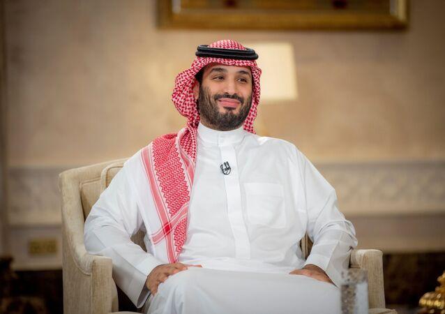 Saudi Crown Prince Mohammed Bin Salman smiles during a televised interview in Riyadh, Saudi Arabia, April 27, 2021. Picture taken April 27, 2021.