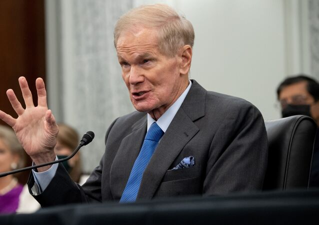 Former US Senator Bill Nelson, nominee to be administrator of NASA, testifies during a  Senate Committee on Commerce, Science, and Transportation confirmation hearing on Capitol Hill in Washington, DC, U.S. April 21, 2021.