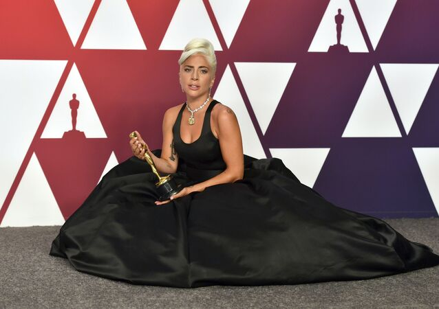 Lady Gaga, winner of the award for best original song for Shallow from A Star Is Born, poses in the press room at the Oscars on Sunday, Feb. 24, 2019, at the Dolby Theatre in Los Angeles.