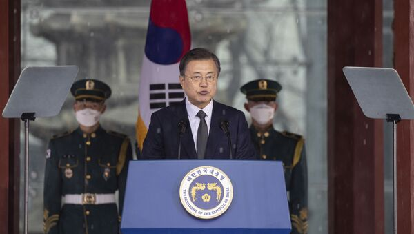 South Korean President Moon Jae-in speaks during a ceremony to mark the March First Independence Movement Day, the anniversary of the 1919 uprising against Japanese colonial rule in Seoul, South Korea, Monday, March 1, 2021. - Sputnik International