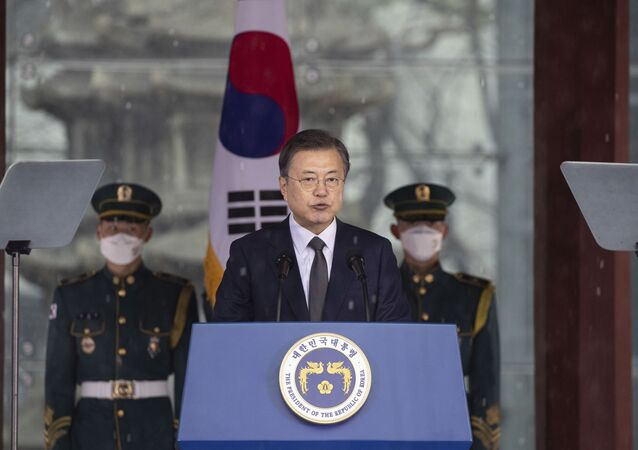 South Korean President Moon Jae-in speaks during a ceremony to mark the March First Independence Movement Day, the anniversary of the 1919 uprising against Japanese colonial rule in Seoul, South Korea, Monday, March 1, 2021.