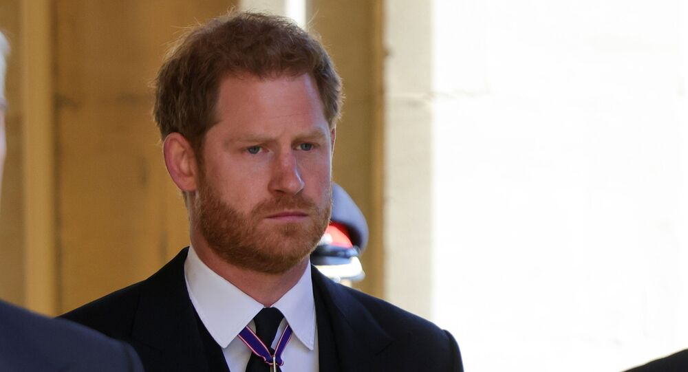 Britain's Prince Harry, Duke of Sussex looks on as he attends the funeral of Britain's Prince Philip, husband of Queen Elizabeth, who died at the age of 99, in Windsor, Britain, April 17, 2021