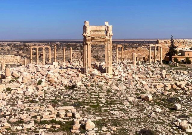 The view shows ruins of Palmyra, an ancient Semitic city and historical architectural monument in present-day Homs Governorate, outside Damascus, Syria.