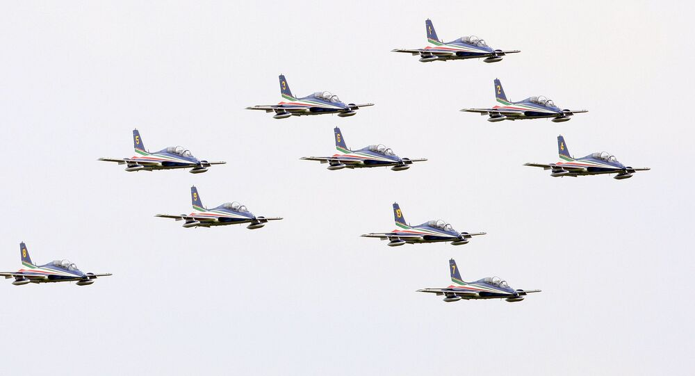 The Italian Air Force Frecce Tricolori acrobatic squad performs in Rivolto,near Udine, Italy, Thursday, May 1, 2008 on the occasion of the traditional season opening.