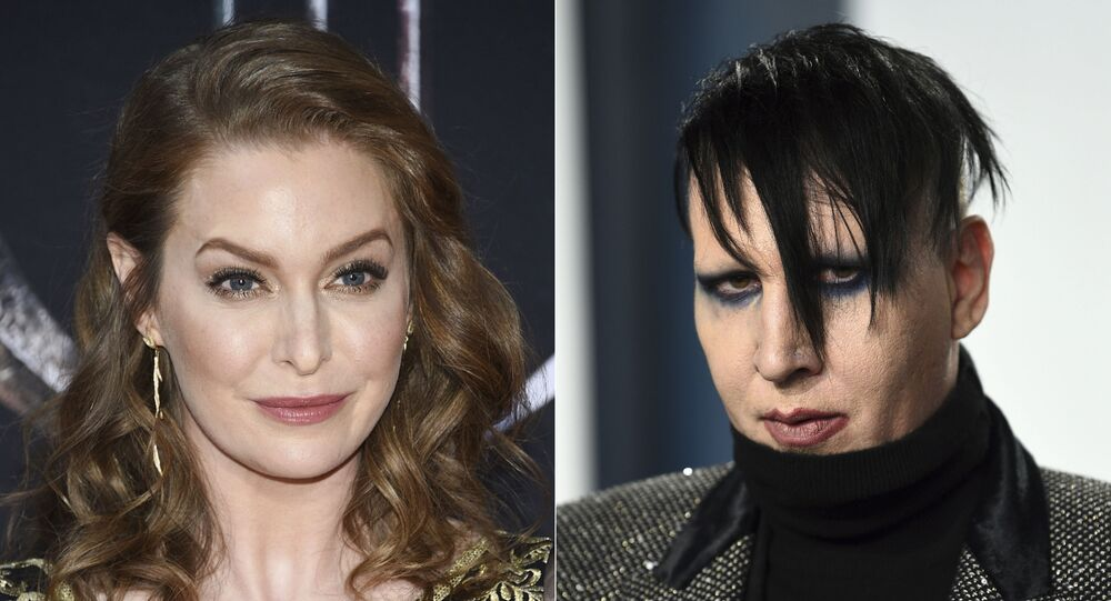In this combination photo, actress Esmé Bianco appears at HBO's Game of Thrones final season premiere in New York on April 3, 2019, left, and musician Marilyn Manson appears at the Vanity Fair Oscar Party in Beverly Hills, Calif. on Feb. 9, 2020.