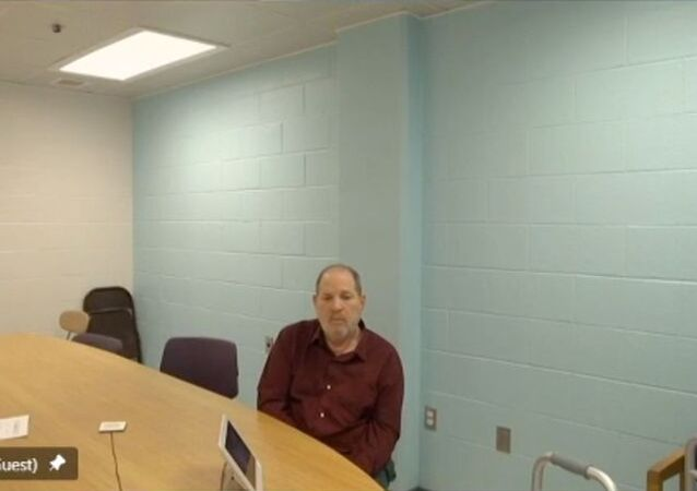 Harvey Weinstein appears from prison, during a virtual hearing regarding possible extradition to California to face further sexual assault charges, before Erie County Court Judge Kenneth Case in Buffalo, New York, U.S. April 30, 2021, in this still image taken from video.