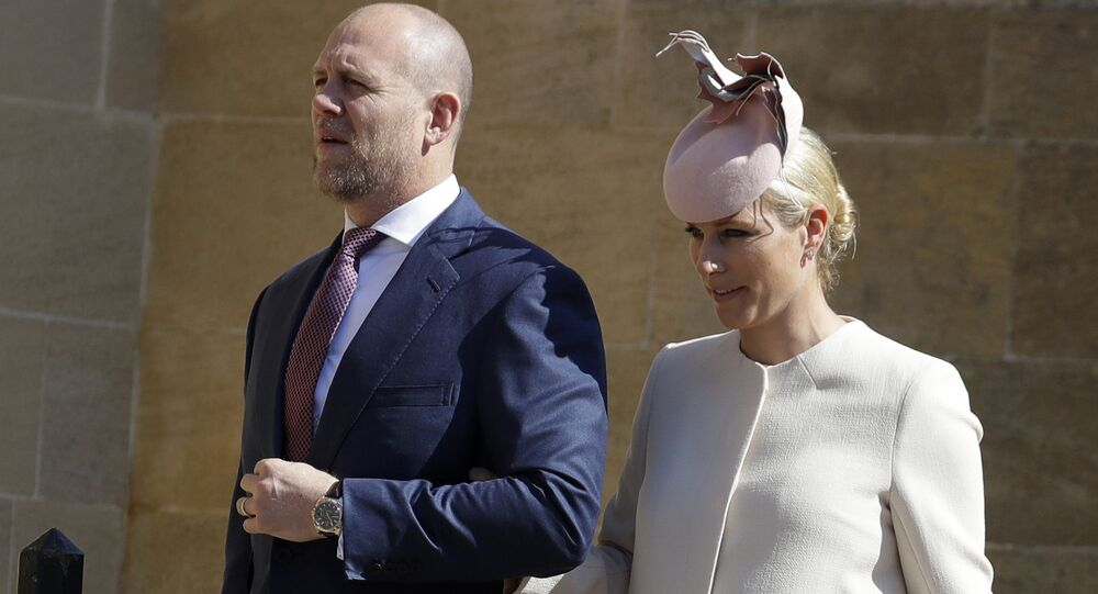 In this Sunday, 21 April 2019 file photo, Zara and Mike Tindall arrive to attend the Easter Mattins Service at St. George's Chapel, at Windsor Castle in England