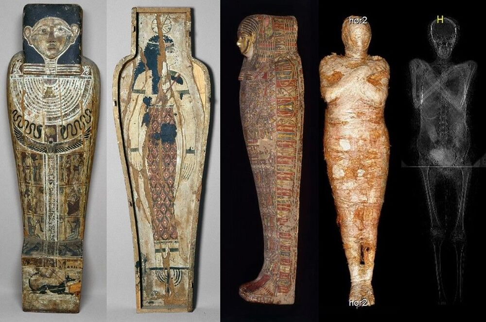 The body was carefully mummified, wrapped in fabrics, and equipped with a rich set of amulets. The body was partly robbed by antiquities dealers in the 19th century.