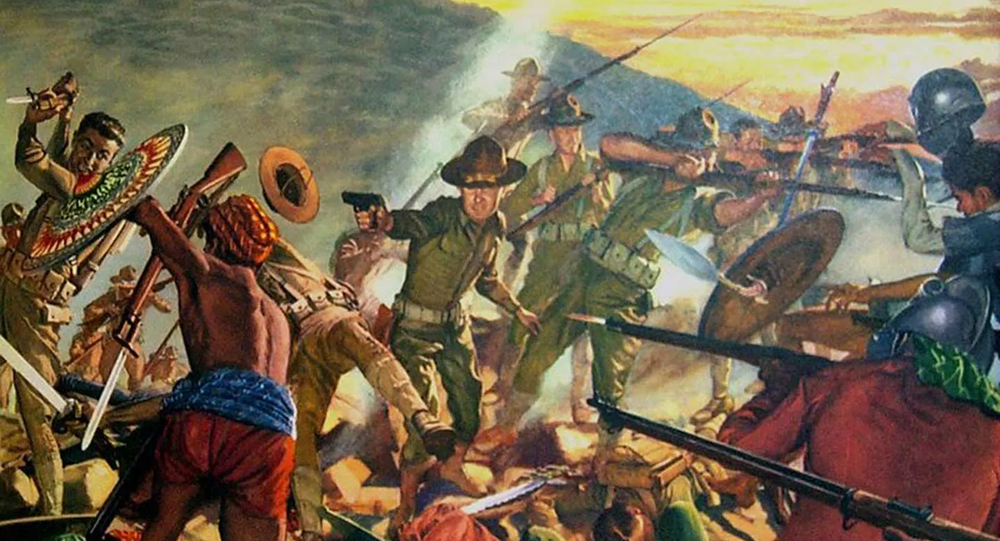A depiction of the Battle of Bud Bagsak, which was fought in June 1913 near the end of the Moro War.