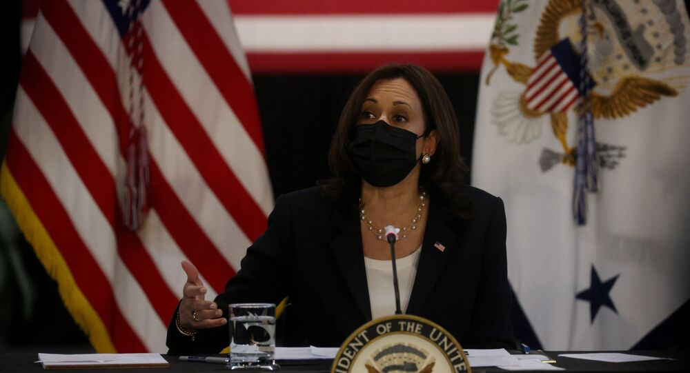 U.S. Vice President Kamala Harris takes part in a round table discussion about the economy as part of a promotion trip for the administration's job's plan in the Innovation Hub at the University of Cincinnati, in Cincinnati, Ohio, U.S. April 30, 2021.