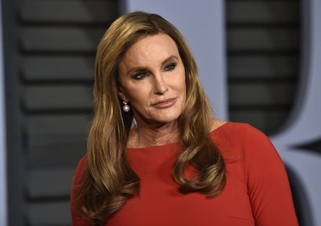 In this Sunday, 4 March 2018 file photo, Caitlyn Jenner arrives at the Vanity Fair Oscar Party on, in Beverly Hills, California.