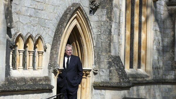 Britain's Prince Andrew, Duke of York, attends Sunday service at the Royal Chapel of All Saints, at Royal Lodge, in Windsor on April 11, 2021, two days after the death of his father Britain's Prince Philip, Duke of Edinburgh. - Queen Elizabeth II has described feeling a huge void in her life following the death of her husband Prince Philip, their son Prince Andrew said on April 11. Andrew, the couple's second son, said following family prayers at Windsor Castle that his mother was contemplating her husband's passing after his death on April 9 aged 99. - Sputnik International
