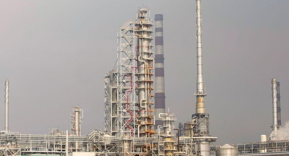The oil refinery near Mozyr, Belarus, on a branch of the Druzhba oil pipeline.