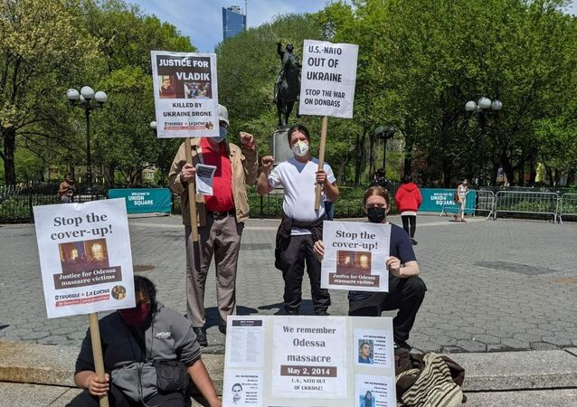Activists in NY Call on US to Stop Supporting Kiev, Draw Attention to the 2014 Odessa Massacre, on May 2, 2021.