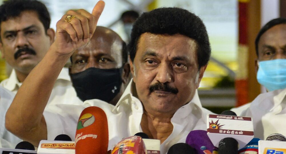 Chief Minister-elect of Tamil Nadu MK Stalin of Dravida Munnetra Kazhagam (DMK) party, gestures as he delivers a speech during a press conference after winning the Tamil Nadu State election, at the memorial of his father and late Chief Minister of Tamil Nadu, M. Karunanidhi, in Chennai, on May 2, 2021.