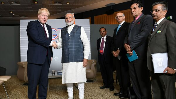 FILE PHOTO: Britain's Prime Minister Boris Johnson meets Indian Prime Minister Narendra Modi at a bilateral meeting during the G7 summit in Biarritz, France August 25, 2019. - Sputnik International