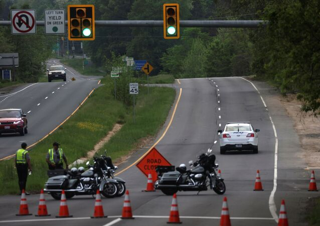 Dolley Madison Boulevard is blocked off by law enforcement in response to a security-related situation outside of the secure perimeter near the main gate of CIA headquarters in McLean, Virginia, U.S. May 3, 2021.