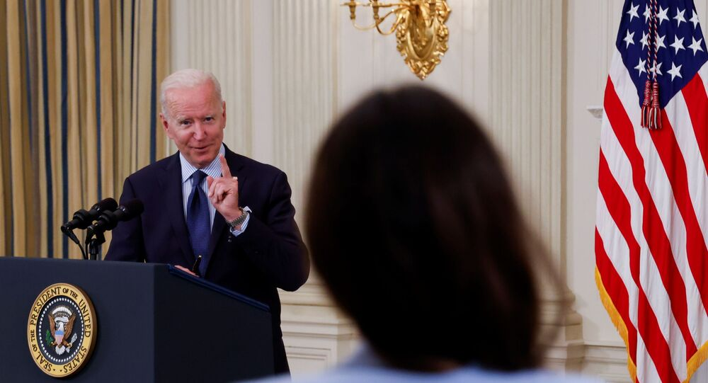 U.S. President Joe Biden delivers remarks on the state of the coronavirus disease (COVID-19) vaccinations from the State Dining Room at the White House in Washington, D.C., U.S., May 4, 2021.