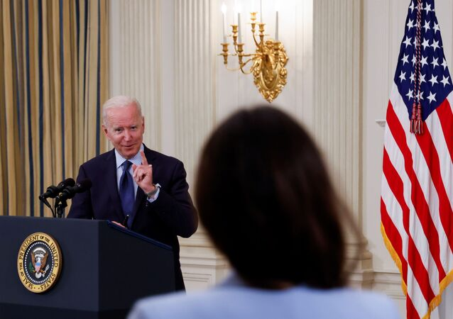 U.S. President Joe Biden delivers remarks on the state of the coronavirus disease (COVID-19) vaccinations from the State Dining Room at the White House in Washington, D.C., 4 May 2021.