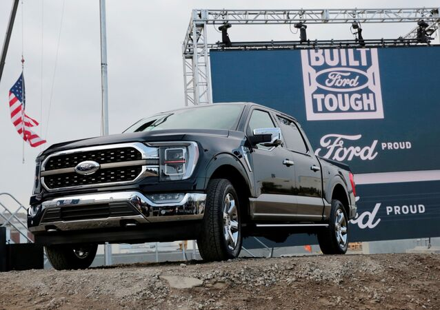 Ford Motor Co displays a new 2021 Ford F-150 pickup truck at the Rouge Complex in Dearborn, Michigan, U.S. September 17, 2020