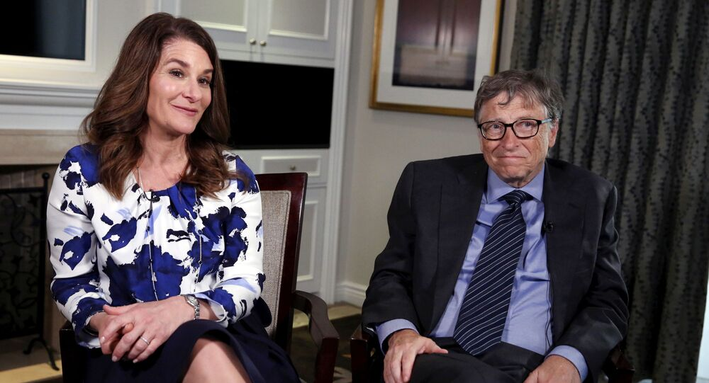 Microsoft co-founder Bill Gates and his wife Melinda sit during an interview in New York