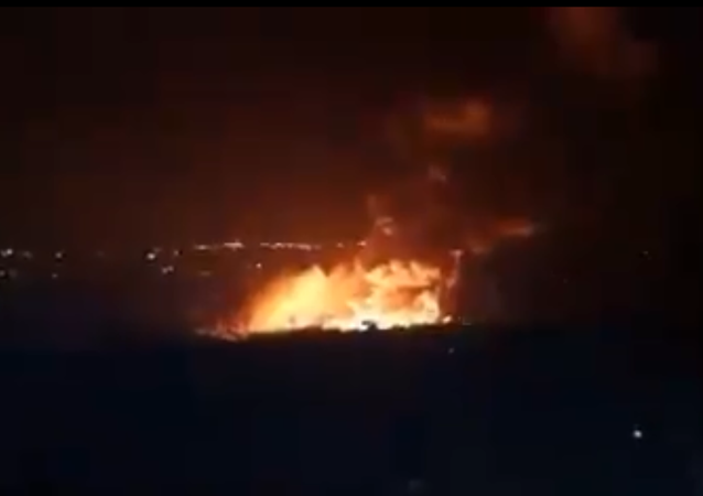 Screenshot from a video allegedly showing the aftermath of what was described by SANA as Israeli aggression against the Latakia region