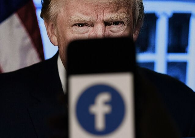 In this photo illustration, a phone screen displays a Facebook logo with the official portrait of former US President Donald Trump on the background, on May 4, 2021, in Arlington, Virginia. - Facebook's independent oversight board was set for a momentous decision on the platform's ban of former US president Donald Trump, as debate swirls on the role of social media in curbing hateful and abusive speech while controlling political discourse.