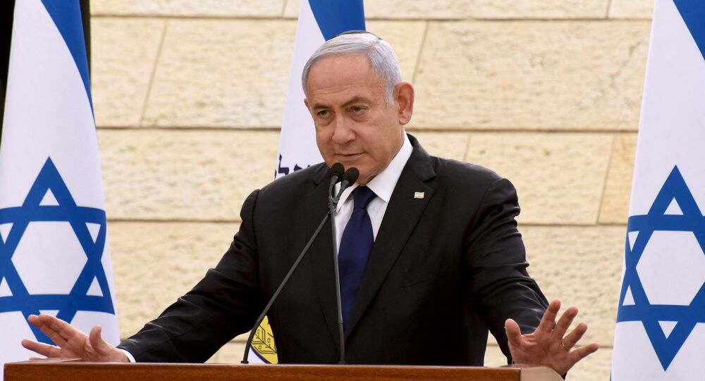 In this file photo taken on April 13, 2021 Israeli Prime Minister Benjamin Netanyahu speaks during a ceremony to mark Yom HaZikaron, Israel's Memorial Day for fallen soldiers, at the Yad LeBanim House in Jerusalem. - Netanyahu's mandate to form a government following an inconclusive election expired on May 5, 2021 giving his rivals a chance to take power and end the divisive premier's record tenure.